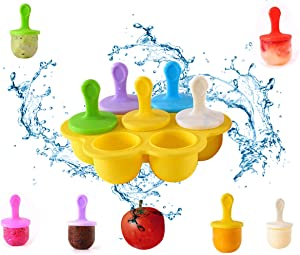 LXSLFY 1pcs 7-cavity DIY popsicle mold with colored plastic sticks, mini silicone popsicle mold, lollipop and ice cream mold, non-stick baby food grade freezer tray storage container (yellow)