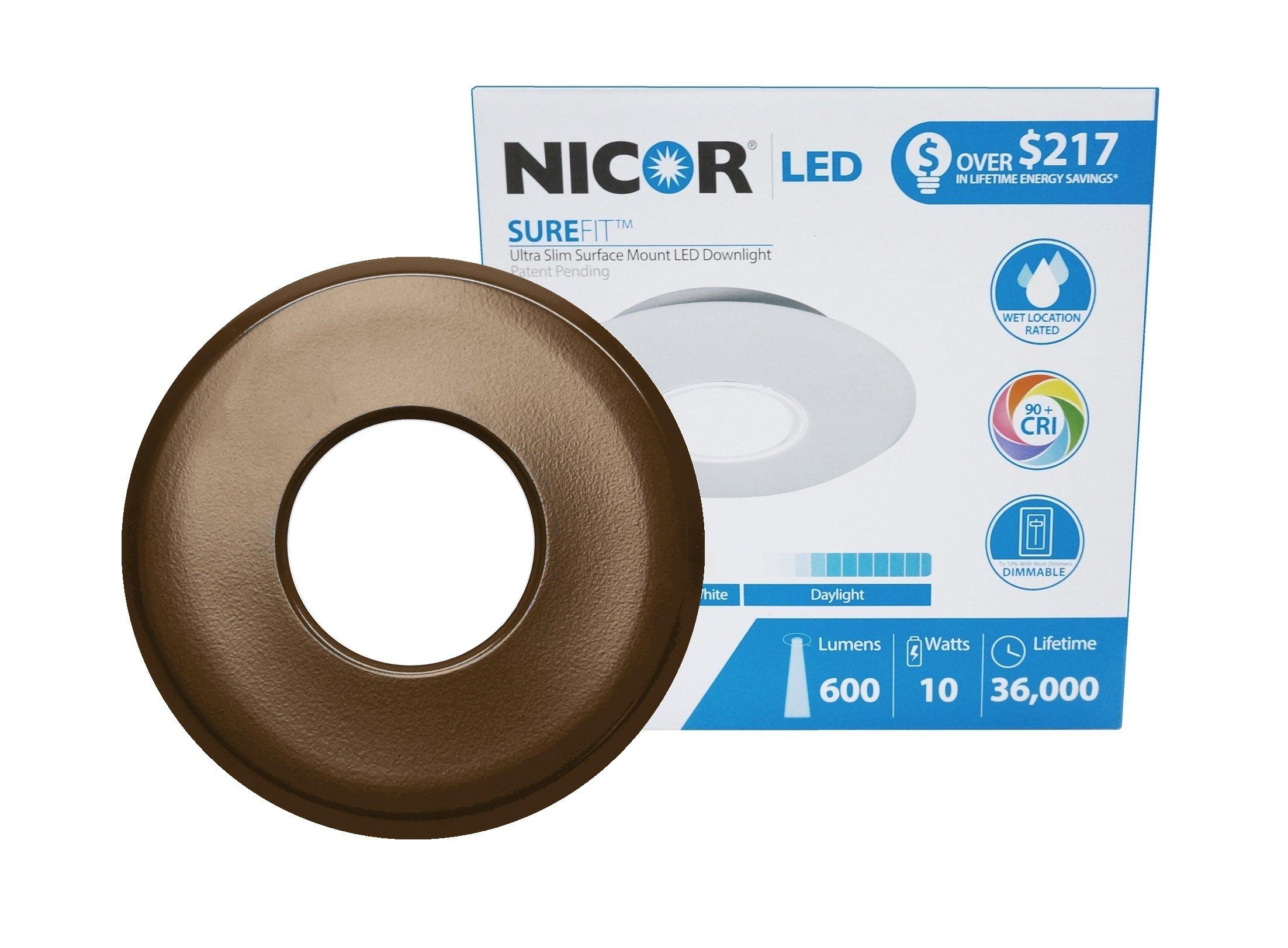 NICOR Lighting SureFit 5.25-inch Round Ultra Slim 3000K LED Junction Box Retrofit Downlight Kit, Oil-Rubbed Bronze (DLF-10-120-3K-RD-OB) by NICOR Lighting