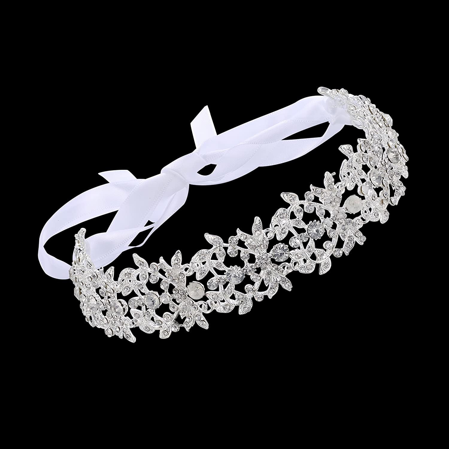Babeyond® Bridal Handmade Luxury Rhinestone Wedding Party Hairband Hair Band Austrian Crystal Floral Leaf with Lace Ribbon NA