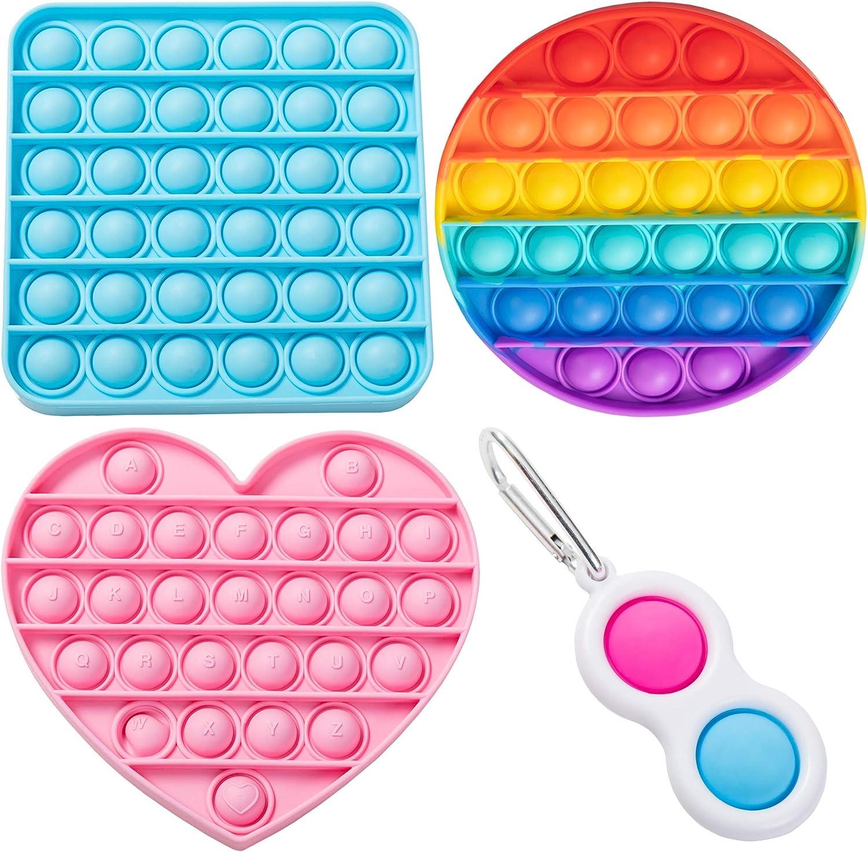 4 PCS Push Pop Bubble Fidget Sensory Toy Simple Dimple Pop Its ...