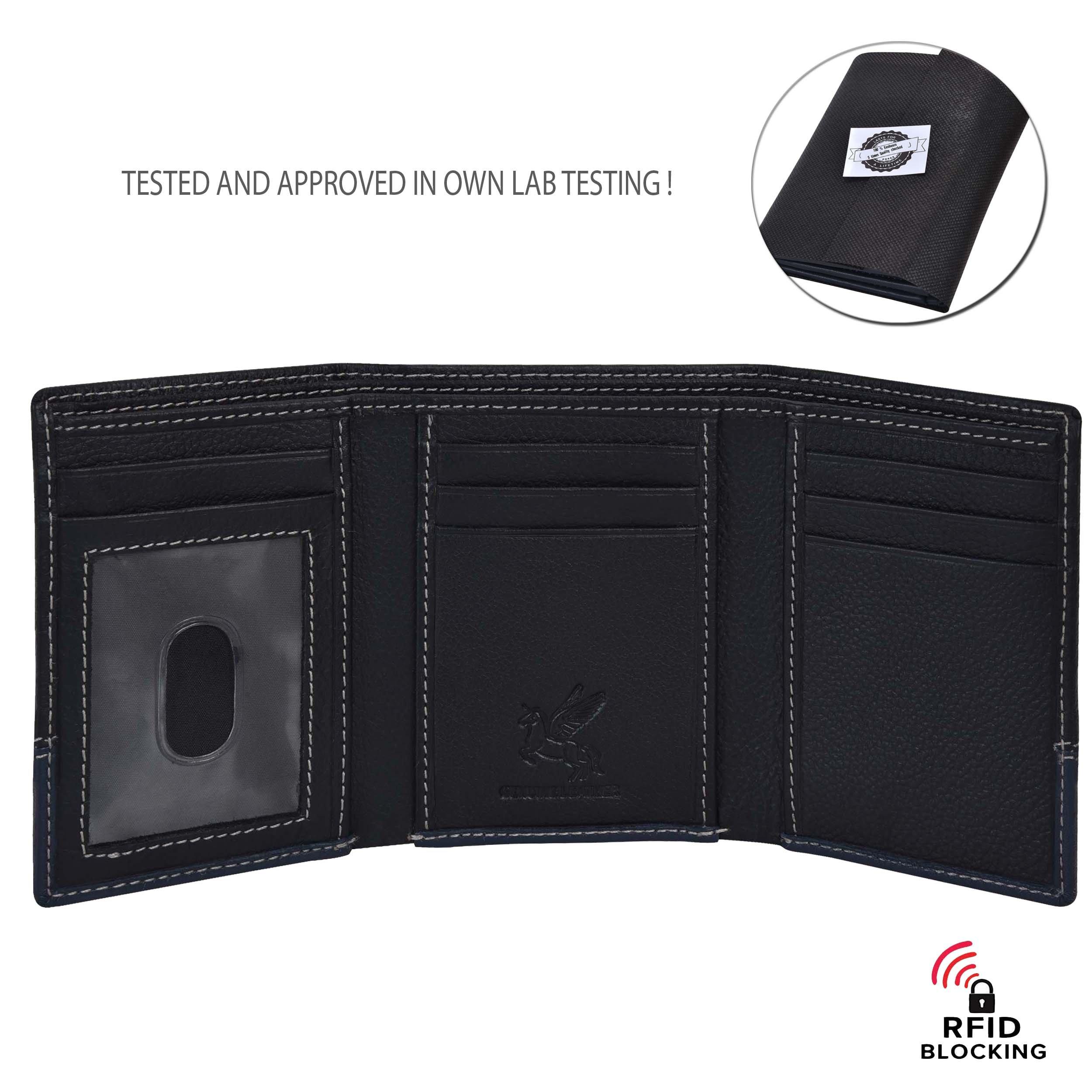 RFID Leather Trifold Wallets for Men - Handmade Slim Mens Wallet 6 Credit Card ID Window and Gift Box Secure by EENHORRAN (Black & Navy) by EENHORRAN (Image #3)