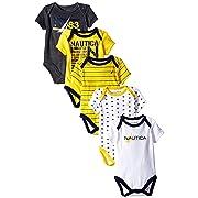 Nautica Baby-Boys Newborn 5 Pack N83 Bodysuit, Assorted, 0-3 Months