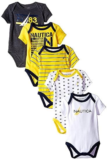 b444bac78a5b82 Amazon.com  Nautica Baby Boys  Newborn Five-Pack Bodysuits  Clothing