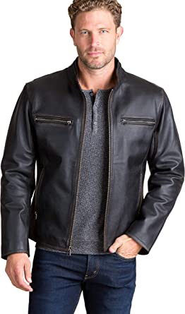 affd1850931 Amazon.com  Overland Sheepskin Co Retro Motocross Cowhide Leather Jacket   Clothing