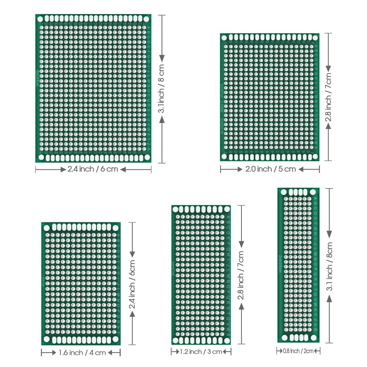 50 Pcs Double Sided Pcb Board Prototype Kit Soldering 5 Sizes Doublesided Printed Circuit Boards Universal For Diy And Electronic Project