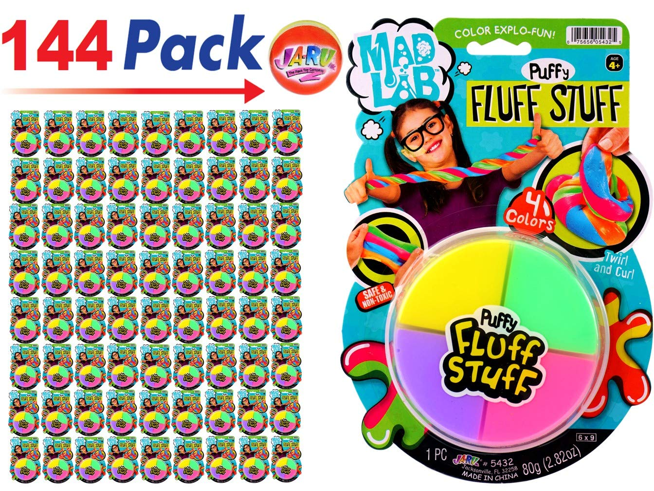 JA-RU Mad Lab Puffy Fluff Stuff Dough (Pack of 144) and one Bouncy Ball Colorful Super Mega Soft Item #5432-144p