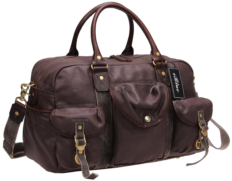 Iblue Waterproof Canvas Leather Travel Weekender Bag Overnight Messenger Shoulder Handbag #10185