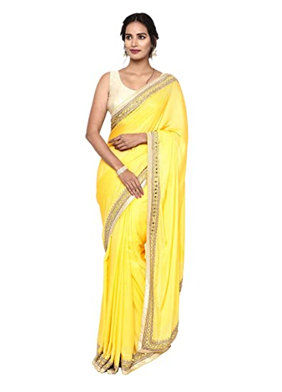 Buy Yellow Plain Saree In Silk With Mirror And Stone Work On Border Puri Emporium At Amazon In,Attractive Simple Butterfly Corner Border Designs For Projects