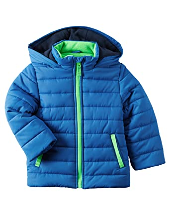 Carter s Boys Fleece-Lined Puffer Jacket with Hood  Blue With Geen Accents  (4 6acab5883
