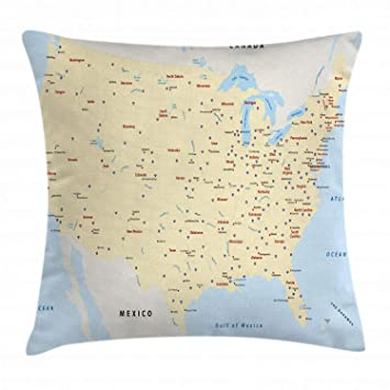 Ambesonne Map Throw Pillow Cushion Cover, United States Interstate Map  America Cities Travel Destinations Road Route, Decorative Square Accent  Pillow ...