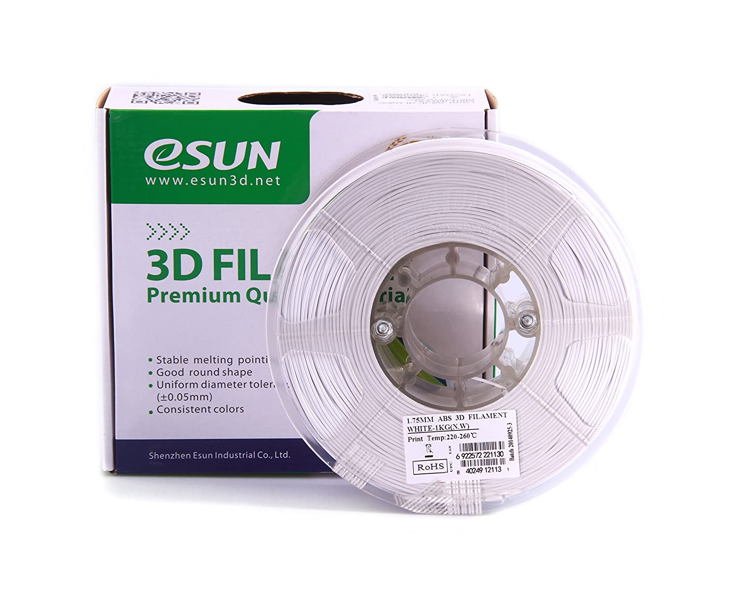 Color printing csun - Amazon Com Esun 1 75mm White Abs 3d Printer Filament 1kg Spool 2 2lbs White Industrial Scientific
