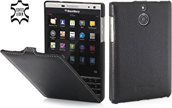 StilGut UltraSlim Case, Custodia in Pelle per Blackberry Passport Silver Edition, Nero