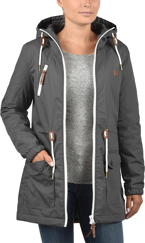 DESIRES Tilonga Damen Übergangsjacke Parka Mantel warme Jacke gefüttert mit Kapuze