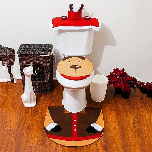 3pc Elf Christmas Festive Reindeer Toilet Seat Cover Bathroom Xmas Decoration