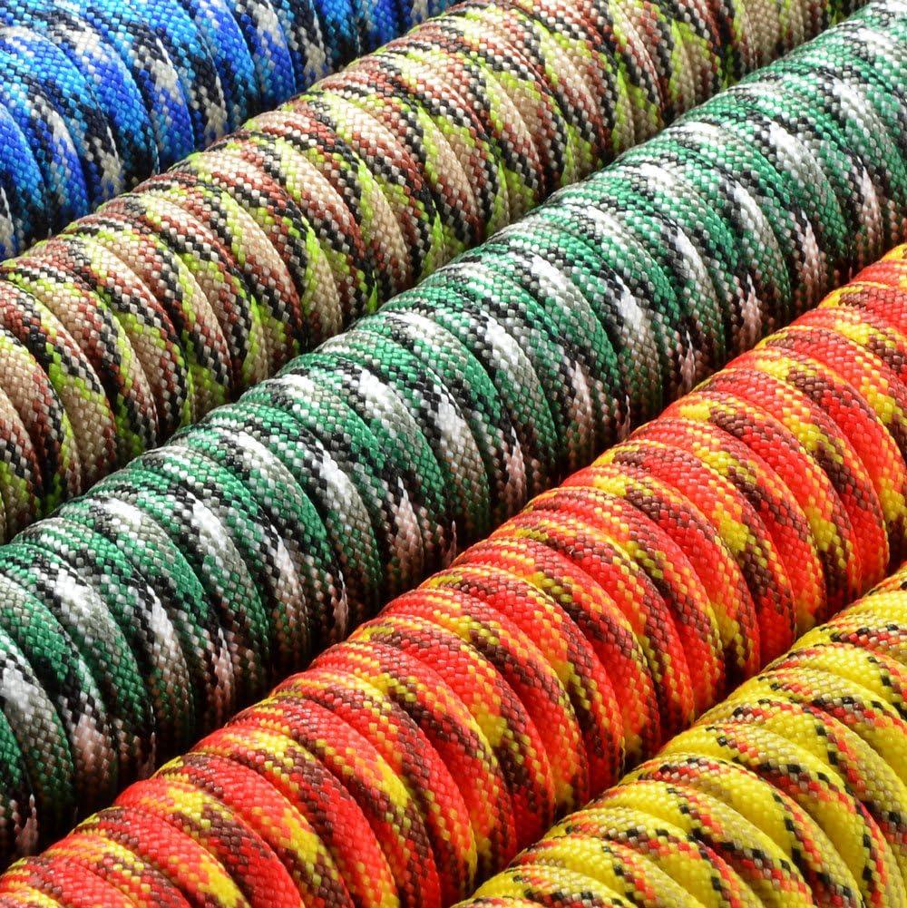corde gain/ée en nylon ATTENTION: NE PAS UTILISER CETTE CORDE POUR LESCALADE Paracorde 550 de la marq corde de survie /à usages multiples et ultra-r/ésistante longueur totale: 31m corde de parachute couleurs: orange et noir