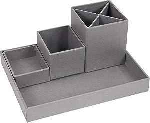Bigso Lena 4-Piece Fiberboard Interchangable Desktop Organizer, 4.3 x 9.3 x 7 in, Grey