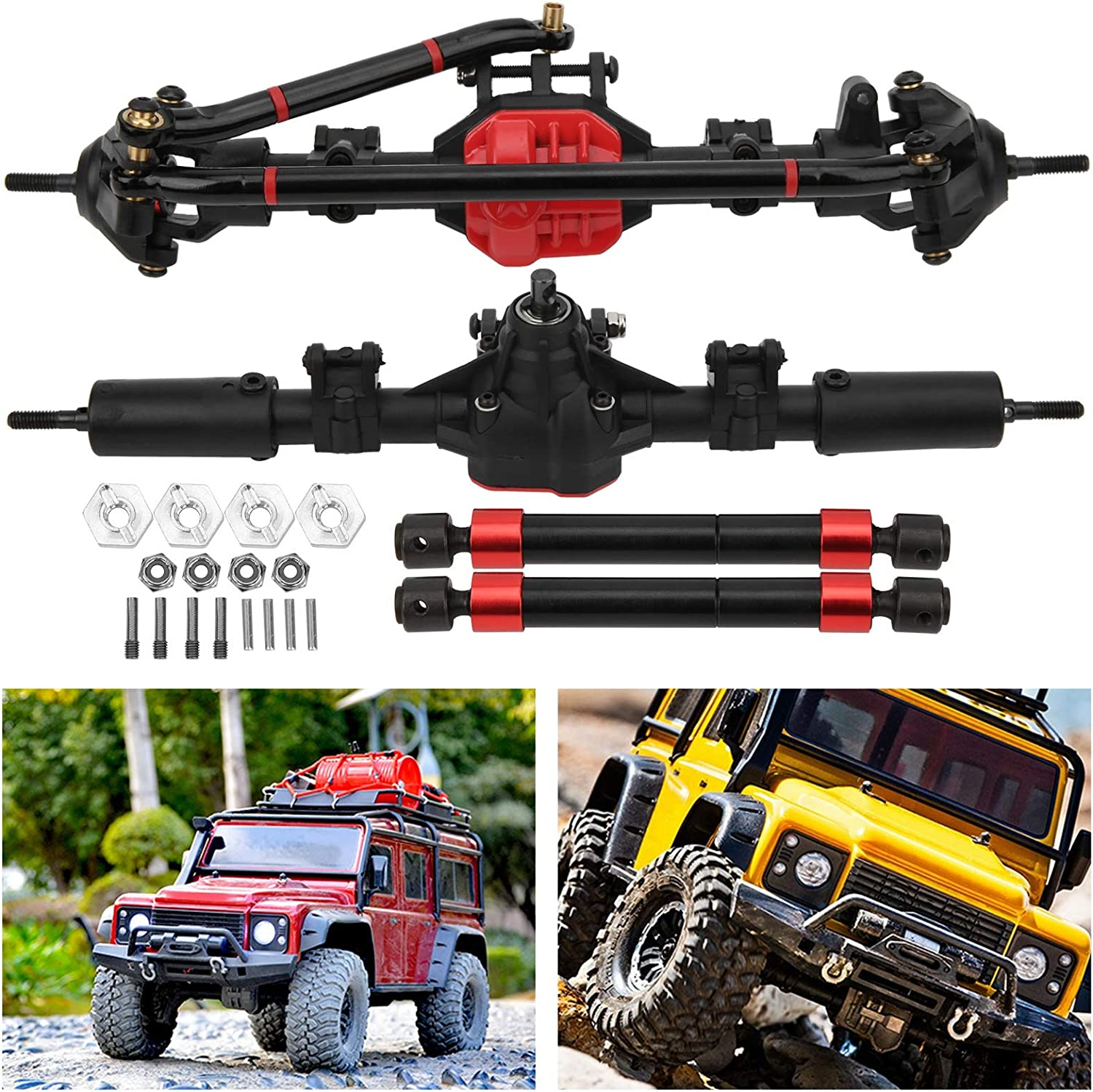 Natruss Front Complete Axle with 2pcs Metal Drive Shaft Nylon Injection Molding Shell Complete Axle for RC Car Lovers 1//10 Axial SCX10 I and SCX10 II RC Car