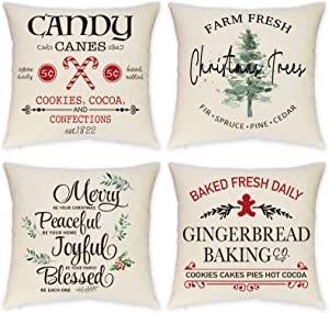 HEOFEAN Christmas Pillow Covers 18x18 Inch – Set of 4 Farmhouse Christmas Pillow Covers for Christmas Decor- Christmas Tree Decorative Throw Pillow Covers for Couch