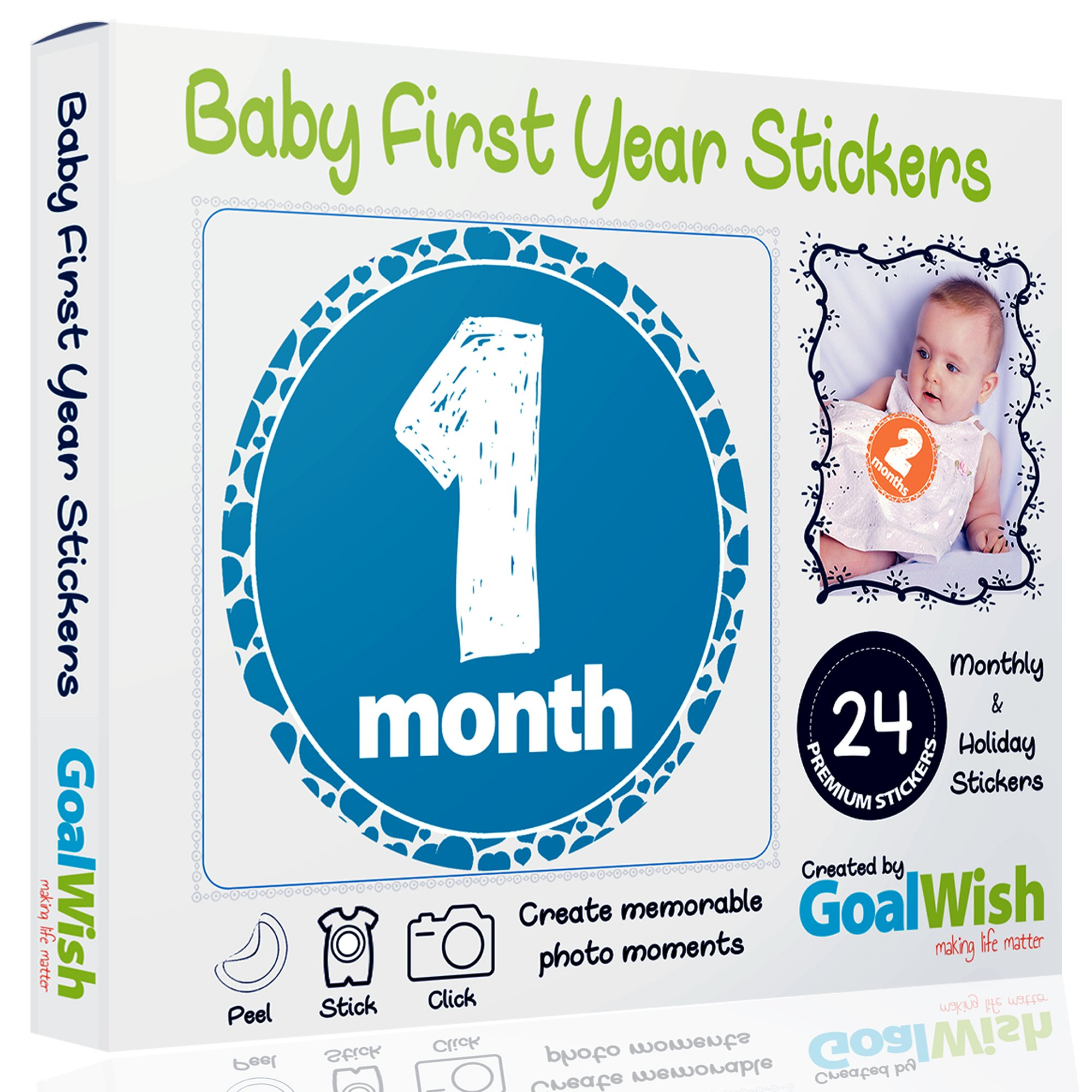 Baby Monthly Stickers - Pack of Premium 24 Unisex First Year Stickers for Boys and Girls - 12 Baby Monthly Stickers + 12 Baby Milestone Stickers - Perfect Baby Shower Gift, Newborn Birthday
