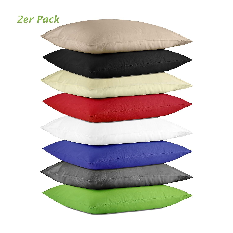 Niceprice Renforce Fundas de almohada fundas de almohada en doble Pack de 100% algodó n en 3 tamañ os y muchos colores, 100% algodó n, cappuccino, 40 x 40 cm 100% algodón