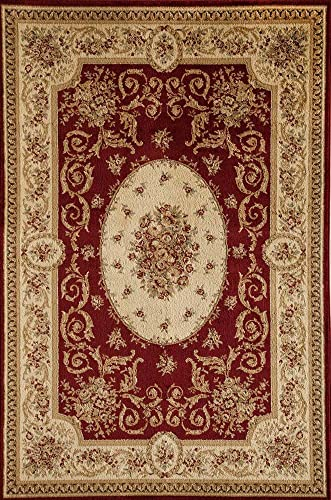 Rugs America Sorrento Area Rug, 7-Feet 10-Inch by 10-Feet 10-Inch, Medallion Red