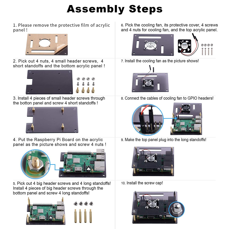 GeeekPi Geh/äuse f/ür Raspberry Pi 4 Model B Schwarz Raspberry Pi 4B H/ülle mit L/üfter 40X40X10mm und 4 St/ück Raspberry Pi 4 K/ühlk/örper f/ür Raspberry Pi 4 Model B