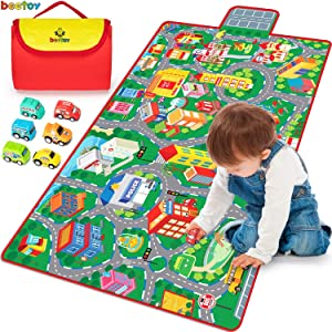 Kids Road Carpet Play Mat for Toy Cars, Portable Anti-Slip Large Play Rug for Toddlers with 6 Car, Children Educational Road Traffic Play Mat for Play Room Game