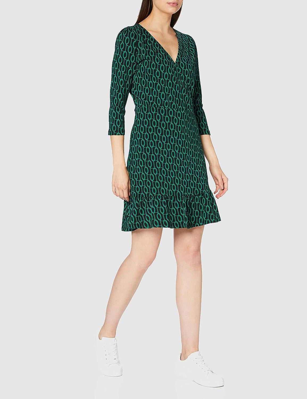 Dorothy Perkins Damen Green Geo Three Quarter Sleeve Wrap Dress L/ässiges Kleid