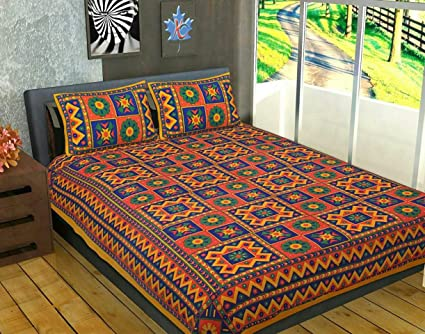 152742a912d Jaipuri Traditional Cotton Kantha Work Embroidered Double Bed Sheet With  Two Pillow Covers Multi Color Rajasthani