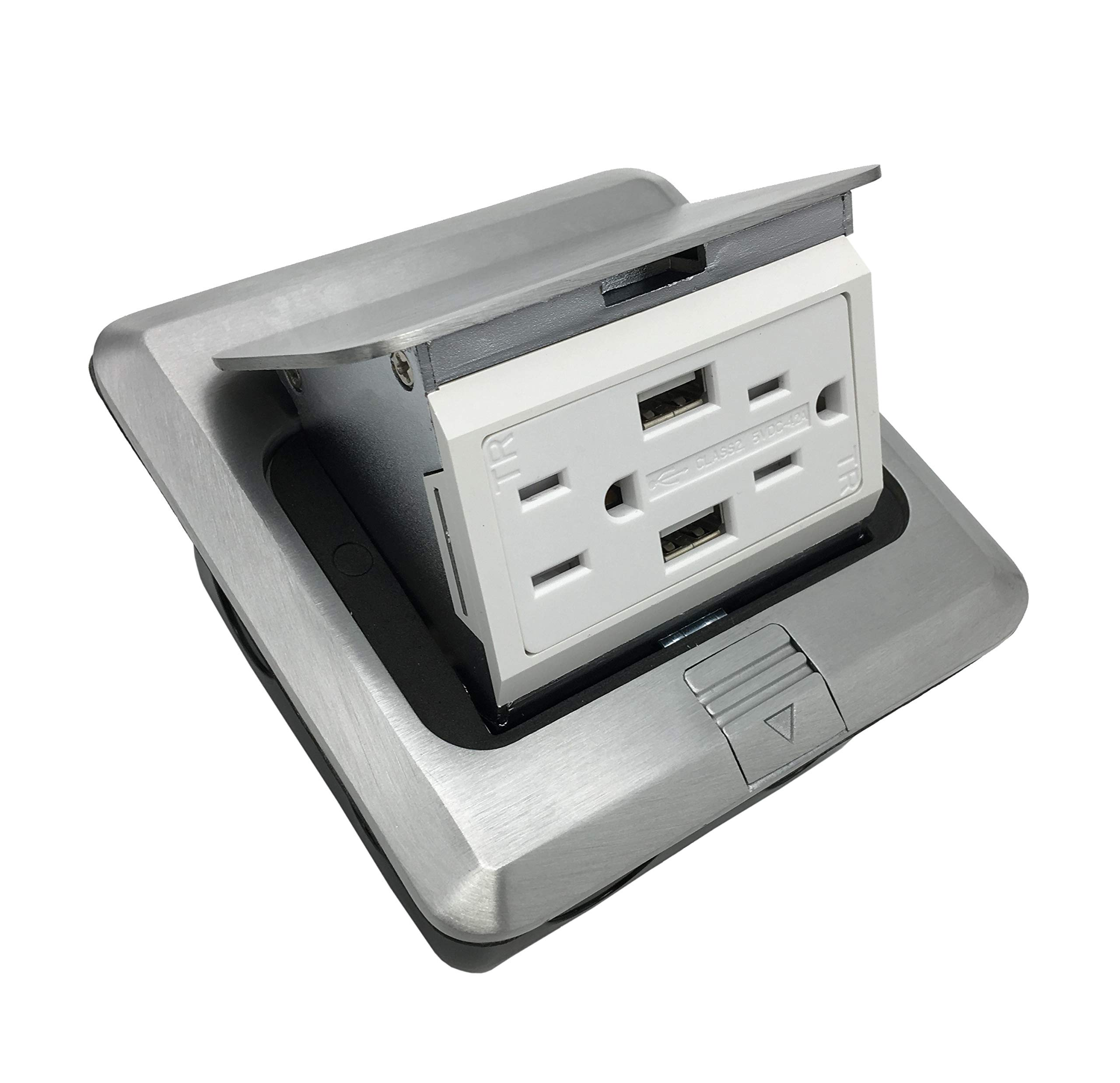 Pop Up Receptacle Floor Outlet W/15A with 2 USB Charging Ports Brushed Stainless Finish