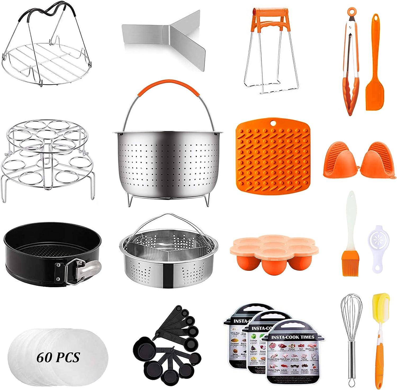 Artcome 91 PCS Accessories Set for Instant Pot 5,6,8 Qt, Pressure Cooker Accessories Set - 60 Pcs Parchment Papers, 2 Steamer Baskets, Springform Pan, Stackable Egg Steamer Rack, Egg Bites Mold & More
