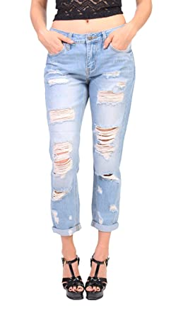 watch best selection of 2019 affordable price Cello Jeans Women Distressed Slim Straight Boyfriend Jeans