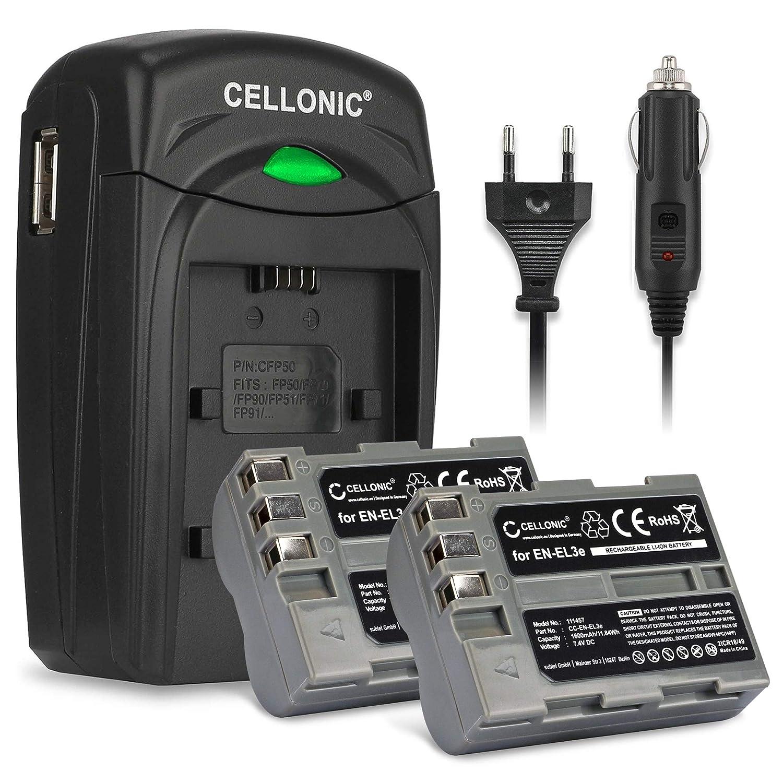 CELLONIC 2X Batería Compatible con Nikon D50 D70s D80 D90 D100 D200 D300 D300S D700 D900 EN-EL3 Pila Repuesto ENEL3 -EL3e 1600mAh Cargador MH-18a ...