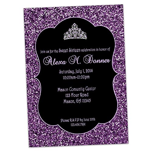 a88ddbb049 Image Unavailable. Image not available for. Color  Purple Glitter Sweet 16 Invitations  Elegant Black Tiara Invite Quinceanera