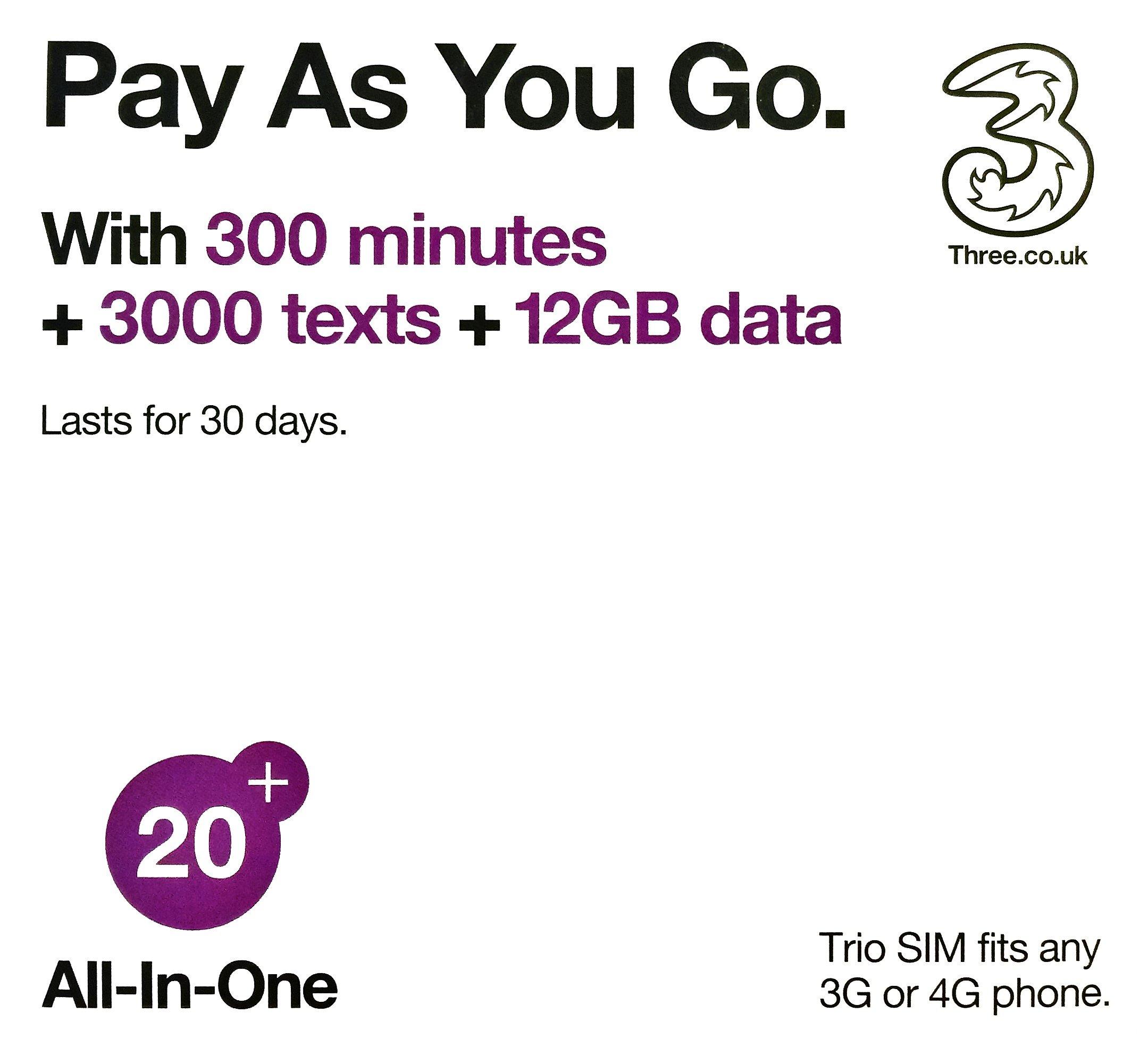 Europe (U.K.) prepaid sim with 42 countries - Three SIM Card with £20 Credit 300min+300texts+12GB data (Europe Prepaid Sim) 42 Destinations! 3 sim! by Three SIM