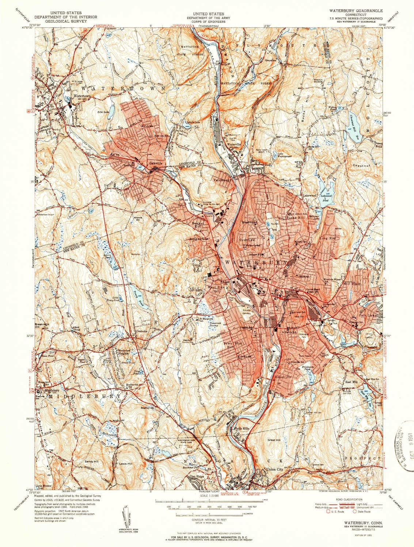 Amazon.com: YellowMaps Waterbury CT topo map, 1:31680 Scale, 7.5 X ...