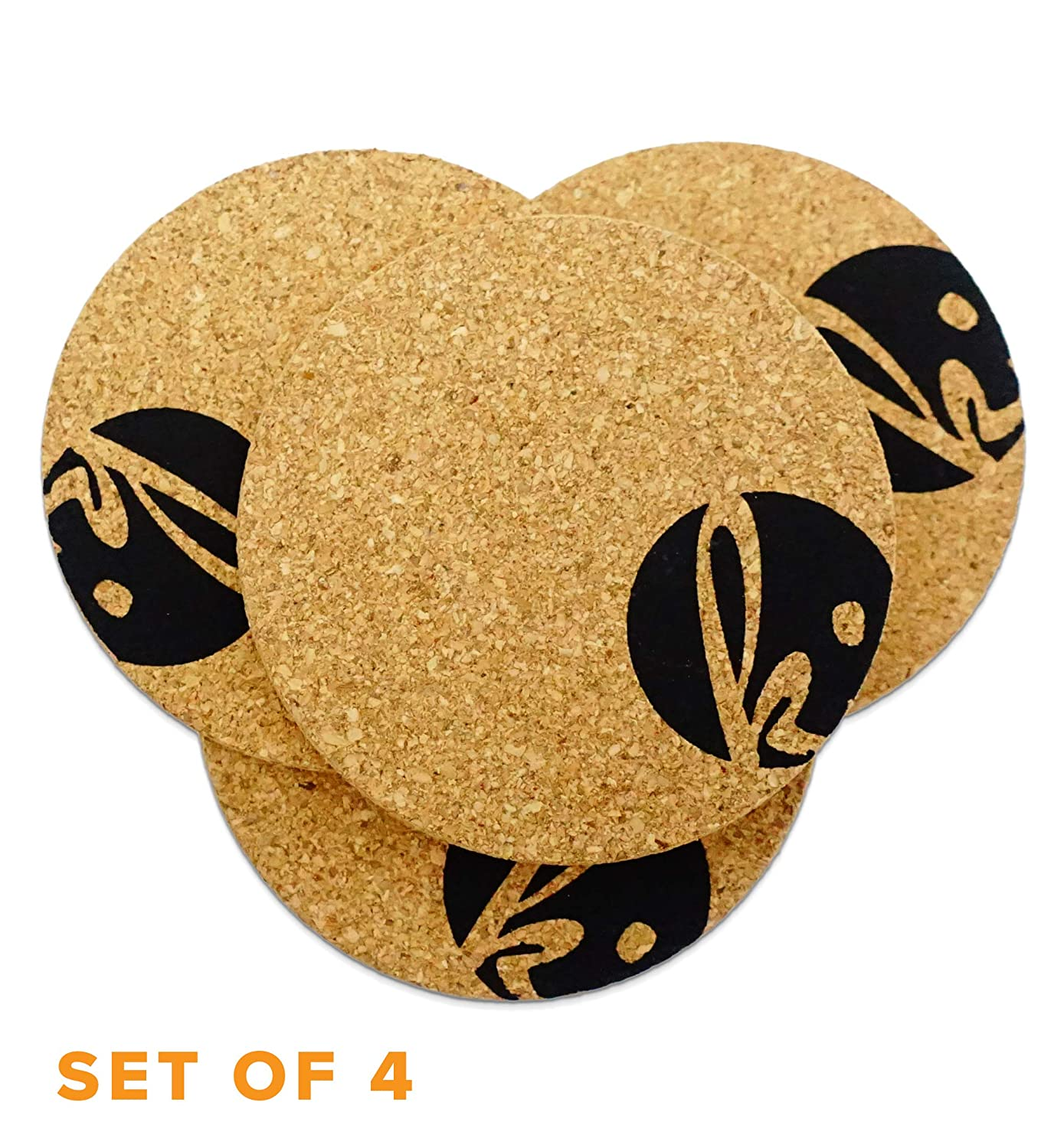 Amazon.com | Coaster Set of 4 - Protect Modern Home Furnishings with  Absorbent Cork Table Coasters for Bottom of Beverage (Circle): Coasters