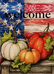Dyrenson Home Decorative Outdoor Welcome Fall Quote Garden Flag Double Sided, Patriotic House Yard Flag, Rustic Autumn Harvest Pumpkin Primitive Yard Decorations, Vintage Seasonal Outdoor Flag 12 x 18