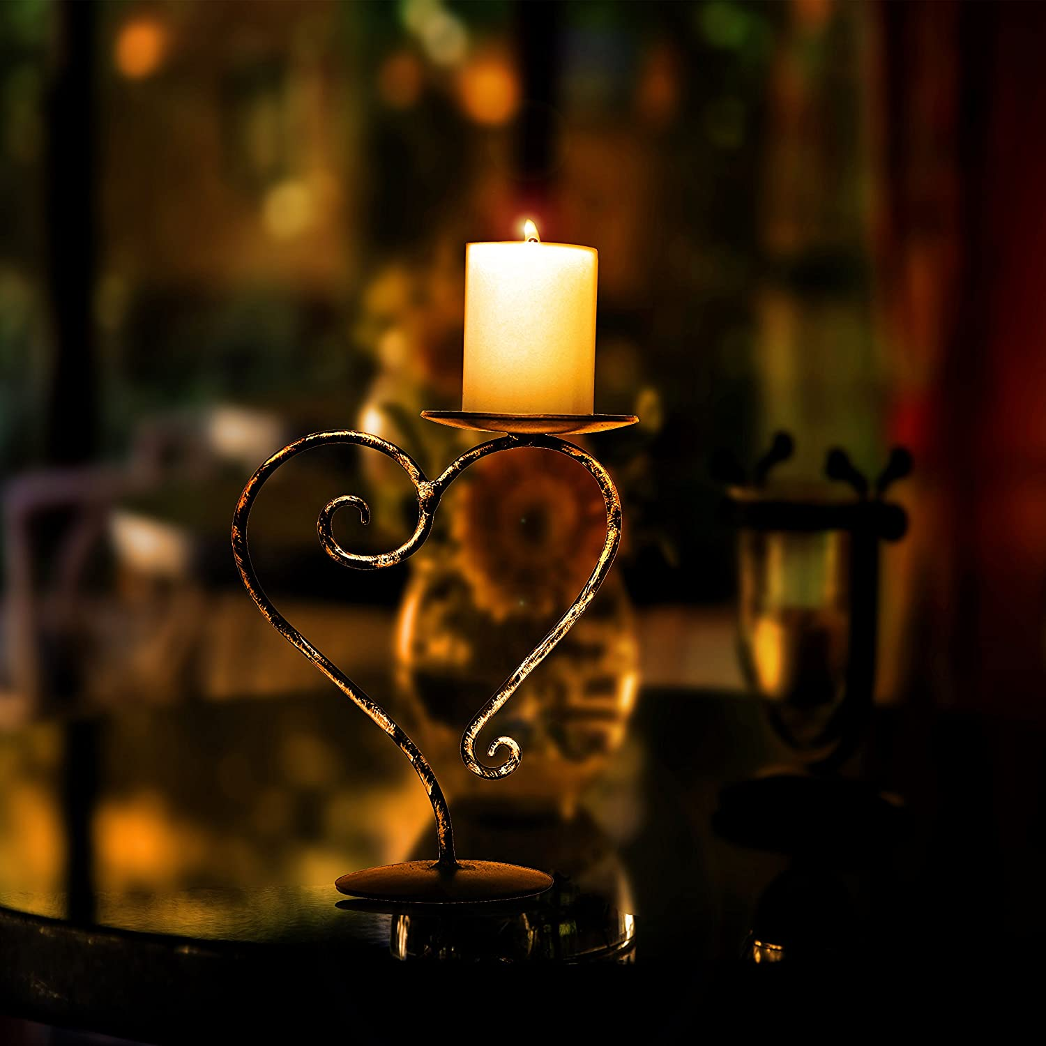 Crafia Golden Black Heart Shape Candle Holder Coffee Table Decorative Centerpieces Wrought Holders For Home Holiday Decoration Light Dinner