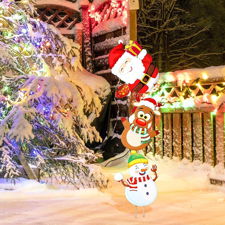 Jetec 3 Pieces Christmas Yard Signs Stakes Plastic Xmas Holiday LawnYard Decor Snowman Santa ClausReindeer Pattern Yard Signs Christmas Decorations Outdoor Garden Pathway Driveway Signs