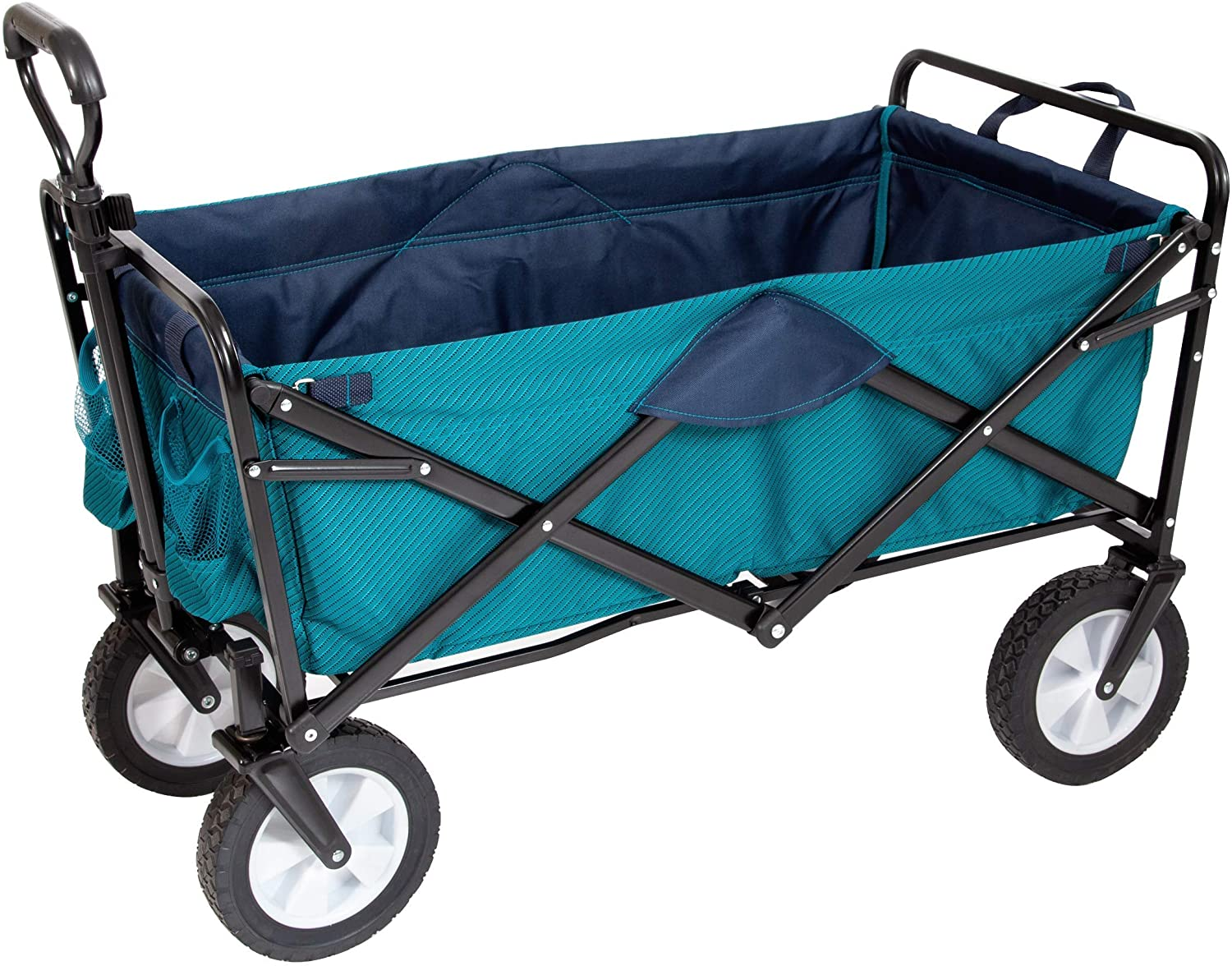 MacSports Classic Collapsible Folding Outdoor Utility Wagon | Heavy Duty Wheelbarrow Cart w/Wheels for Groceries, Sports Equipment, Gardening, Camping, Tailgating | Two-Tone Colors