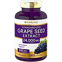 Carlyle Grape Seed Extract 24,000 mg Equivalent 240 Capsules – Maximum Strength Standardized Extract | Non-GMO, Gluten…