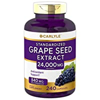 Carlyle Grape Seed Extract 24,000 mg Equivalent 240 Capsules – Maximum Strength Standardized Extract | Non-GMO, Gluten Free