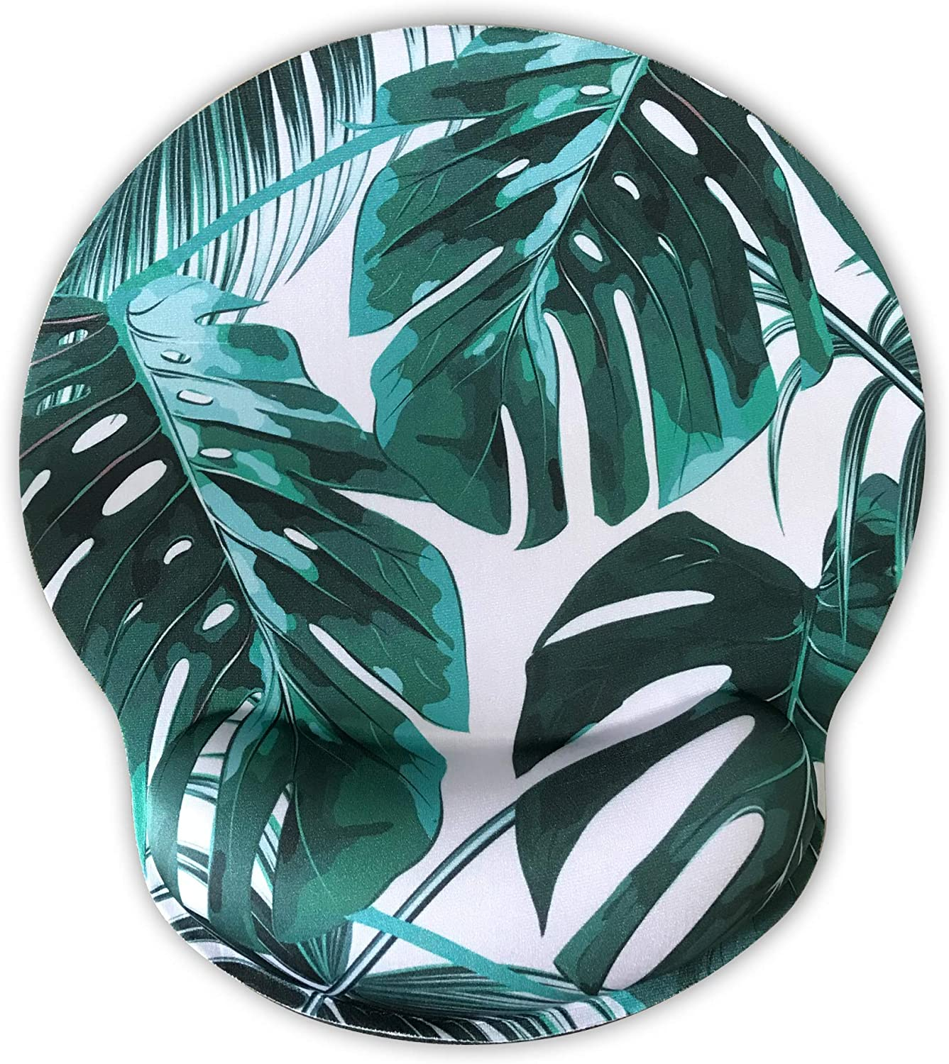 Ergonomic Mouse Pad with Wrist Support,Dooke Cute Wrist Pad with Non-Slip Rubber Base for Computer, Laptop, Home Office Gaming, Working, Easy Typing & Pain Relief Tropical Leaf