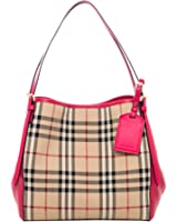 Burberry Women's Small Canter in Horseferry Check and Leather Beige Pink