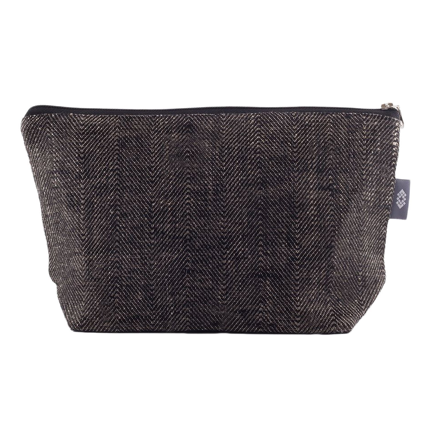 Handmade Black Canvas Makeup Bag - 100% Linen Flax Compact Cosmetic Travel Pouch Luxury Brush Case