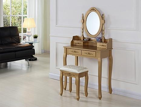 Elegante tavolo da toeletta con sgabello e specchio ovale gold