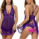 Ababoon Women Sexy Halter Lingerie Sheer Lace Chemise Backless Sleepwear
