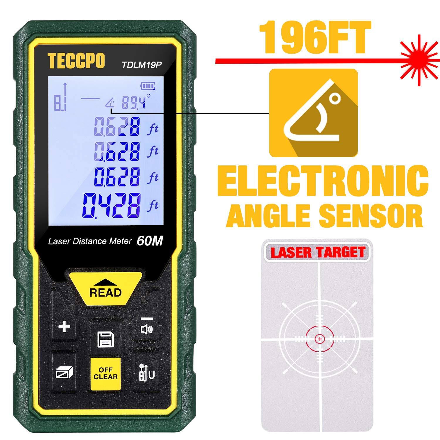 Laser Measure, 196Ft M/In/Ft/Ft+in TECCPO Mute Laser Distance Meter with Electronic Angle Sensor, Backlit LCD and Pythagorean Mode, Measure Distance, Area and Volume, Carry Pouch and Battery Included