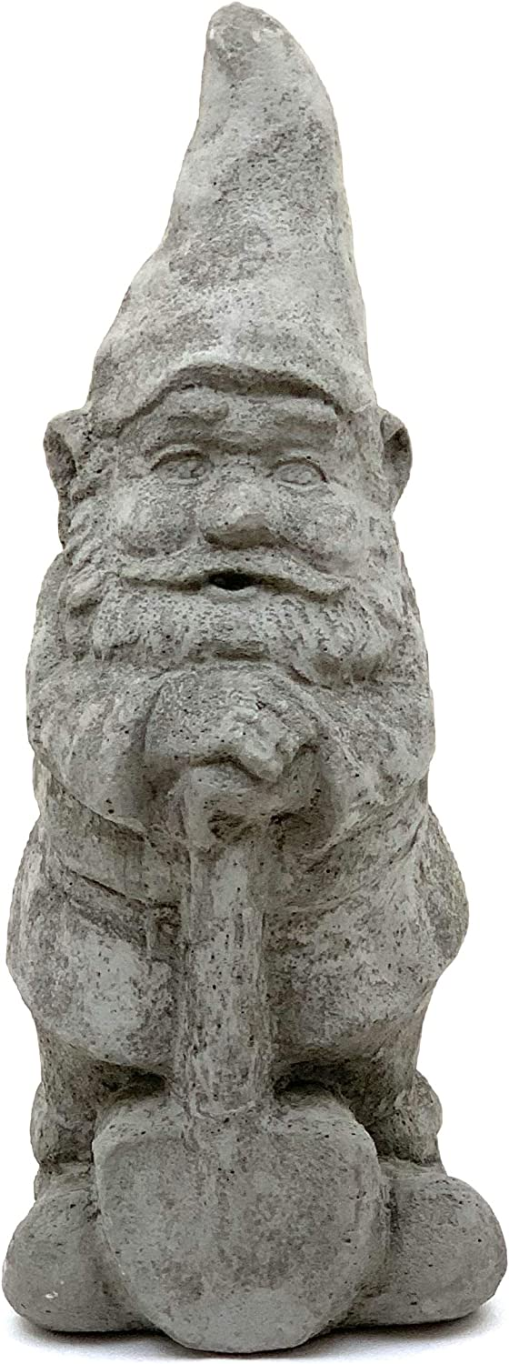 Garden Gnome w/Shovel (Gray): Solid Stone, Sealed for Outdoor Use. Handcrafted in USA